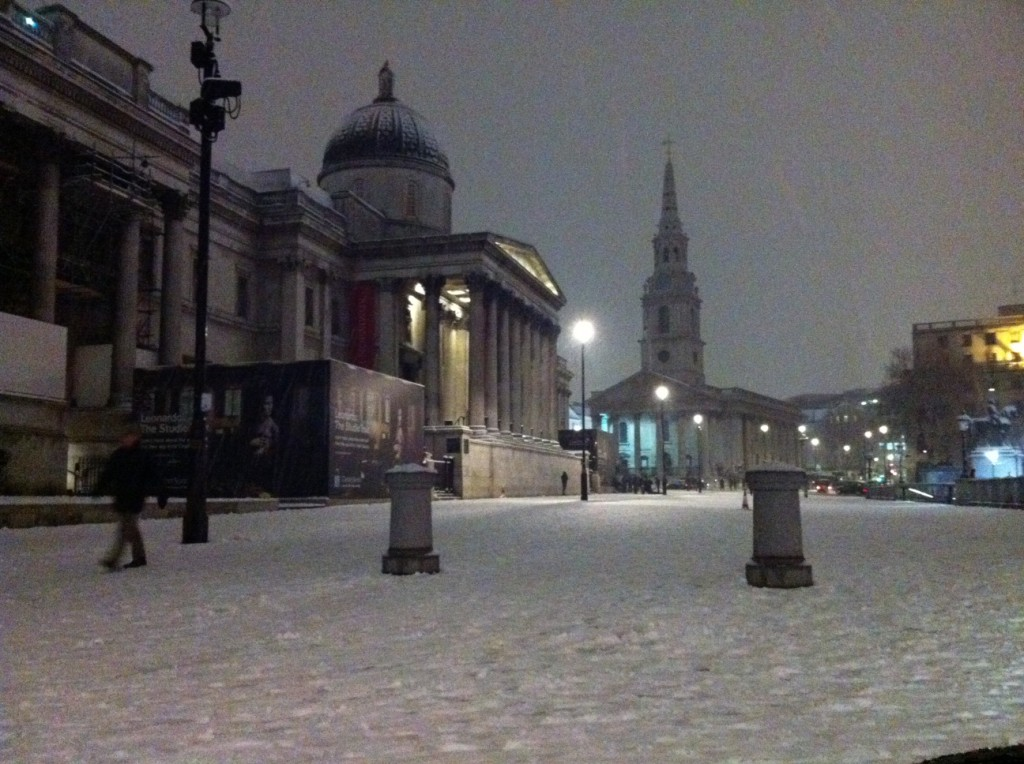 National Gallery, Londres, com neve