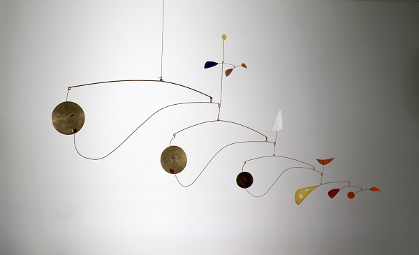 Alexander Calder | Triple Gong, ca. 1948. Brass, sheet metal, wire, and paint, 39 x 75 x 2 3/4 in.